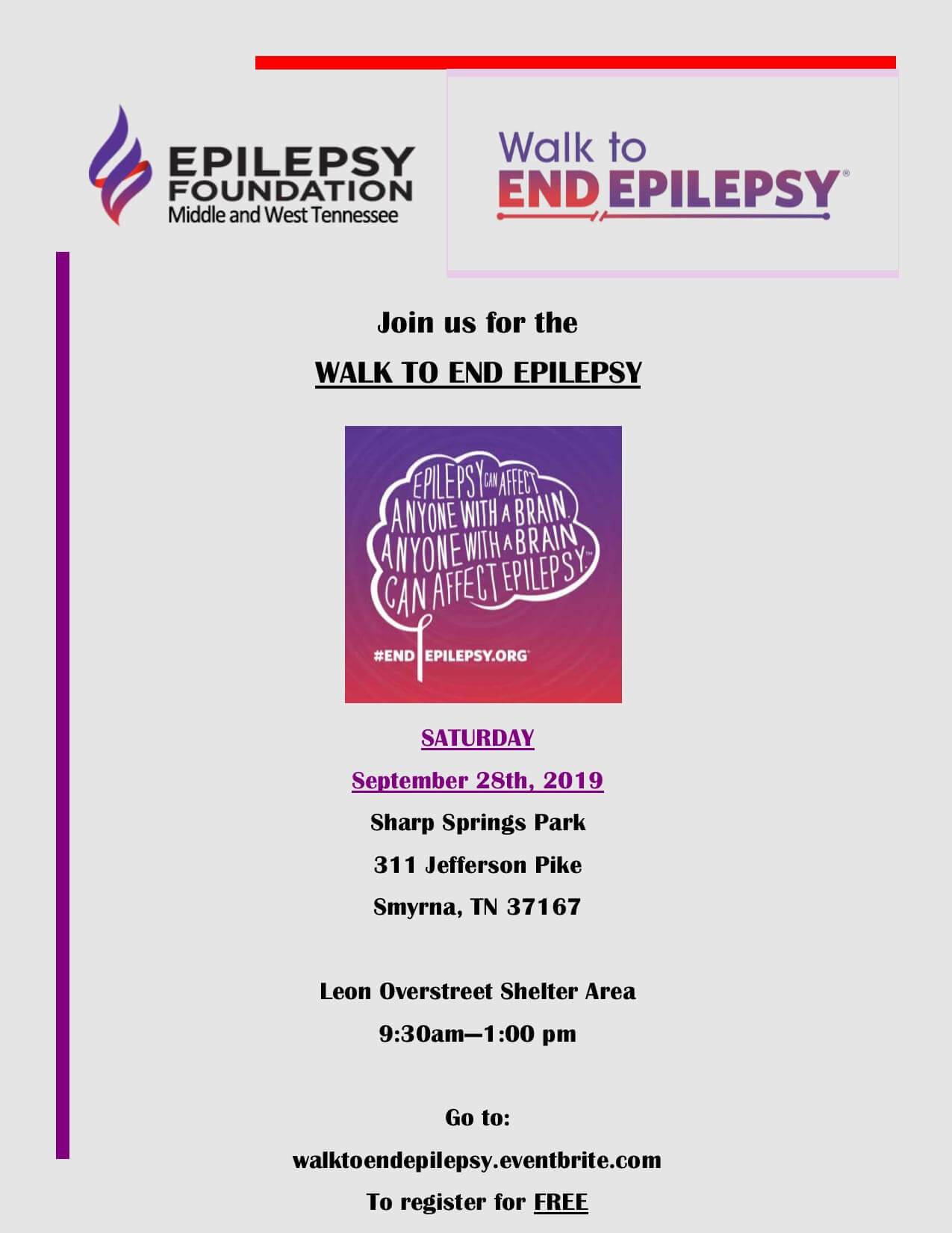 2019 Nashville Epilepsy Walk Flyer