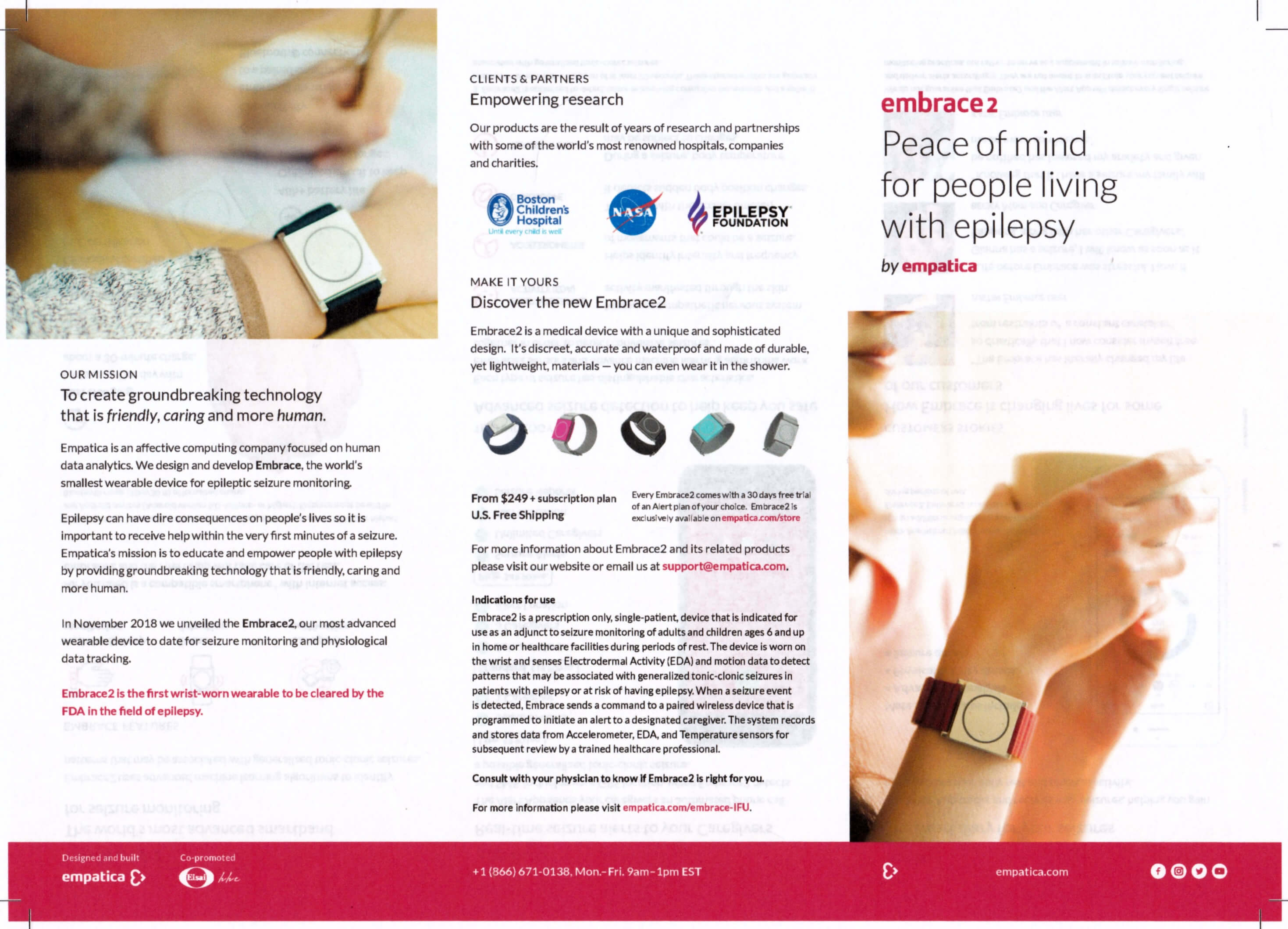 Embrace2 seizure monitoring device brochure page 1